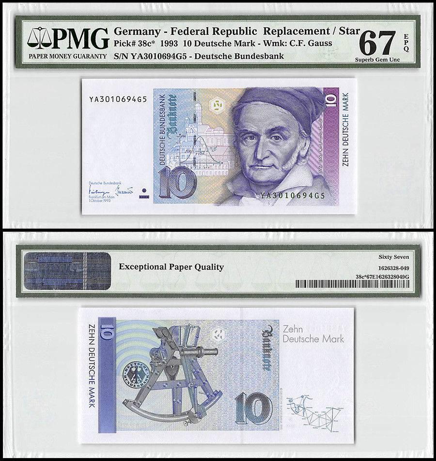 Germany 10 Deutsche Mark 1993 P 38c Unc Replacement Star Pmg 67 Epq