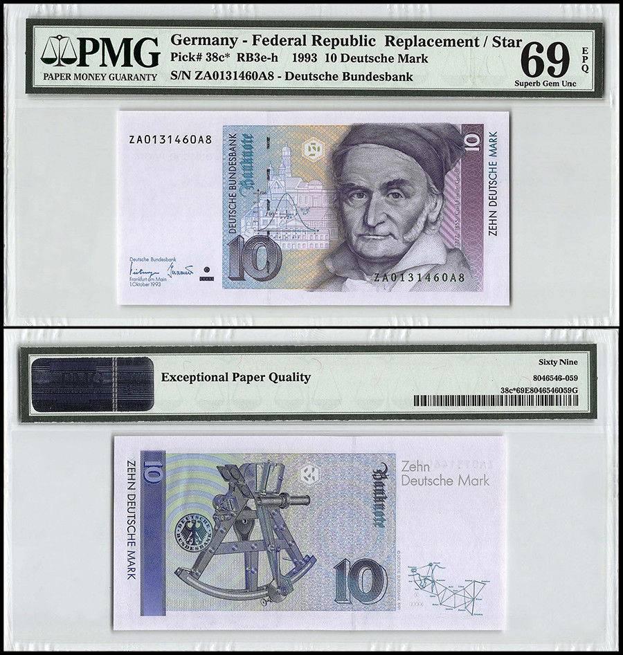 Germany 10 Deutsche Mark Banknote 1993 P 38c Replacement Star Pmg 69 Epq