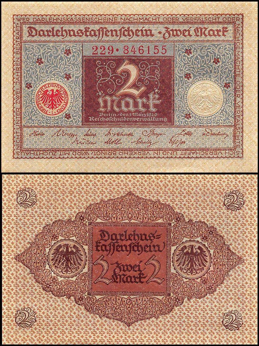 Germany 2 Mark 1920  P-60 Banknotes UNC