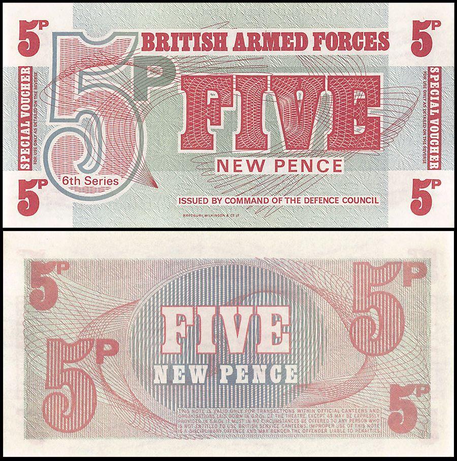 P M47 LOT 5 PCS Uncirculated Banknotes GREAT BRITAIN 5 NEW PENCE 1972 B.A.F