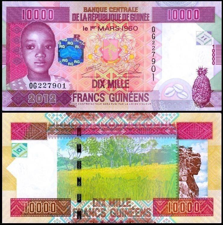 UNC P-46 Prefix XU Guinea 10000 Francs 2012