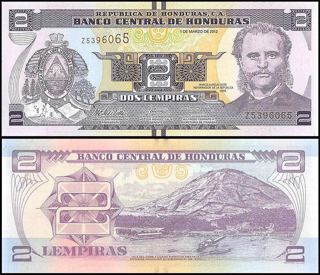 Honduras 2 Lempiras p-97 2014 UNC Banknote