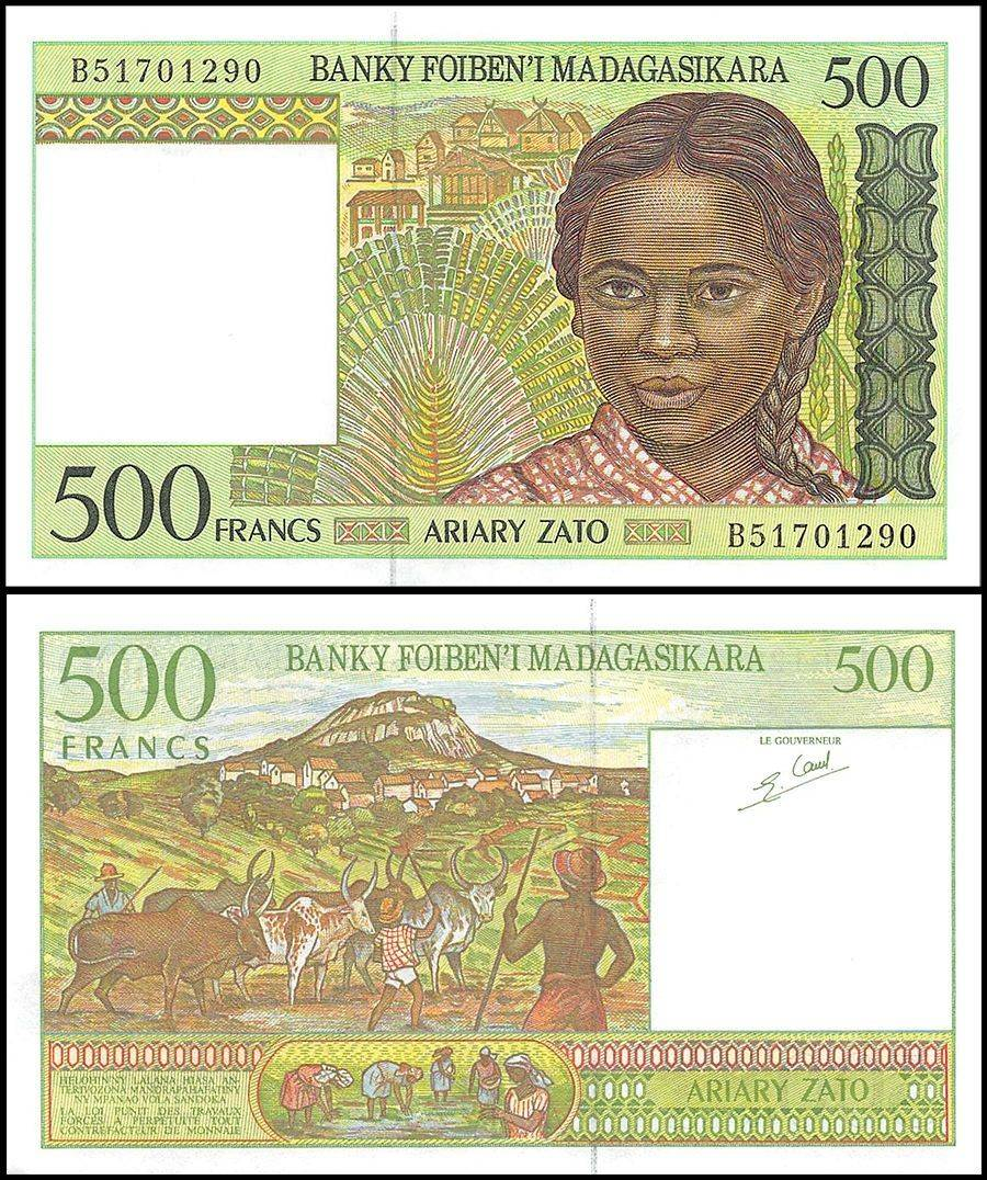 1994  P 76  Series C  Uncirculated Banknote Madagascar  1000  Francs  ND