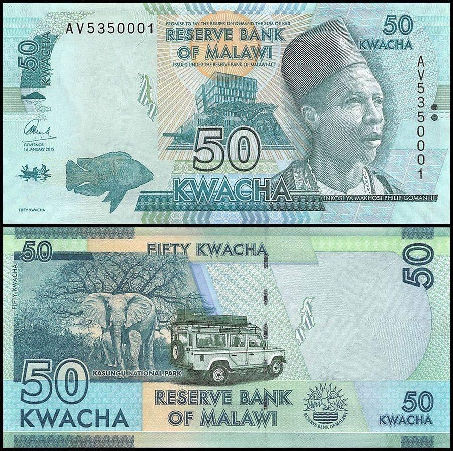 Malawi P-64b 50 Kwacha Year 2015 Elephants Uncirculated Banknotes Africa