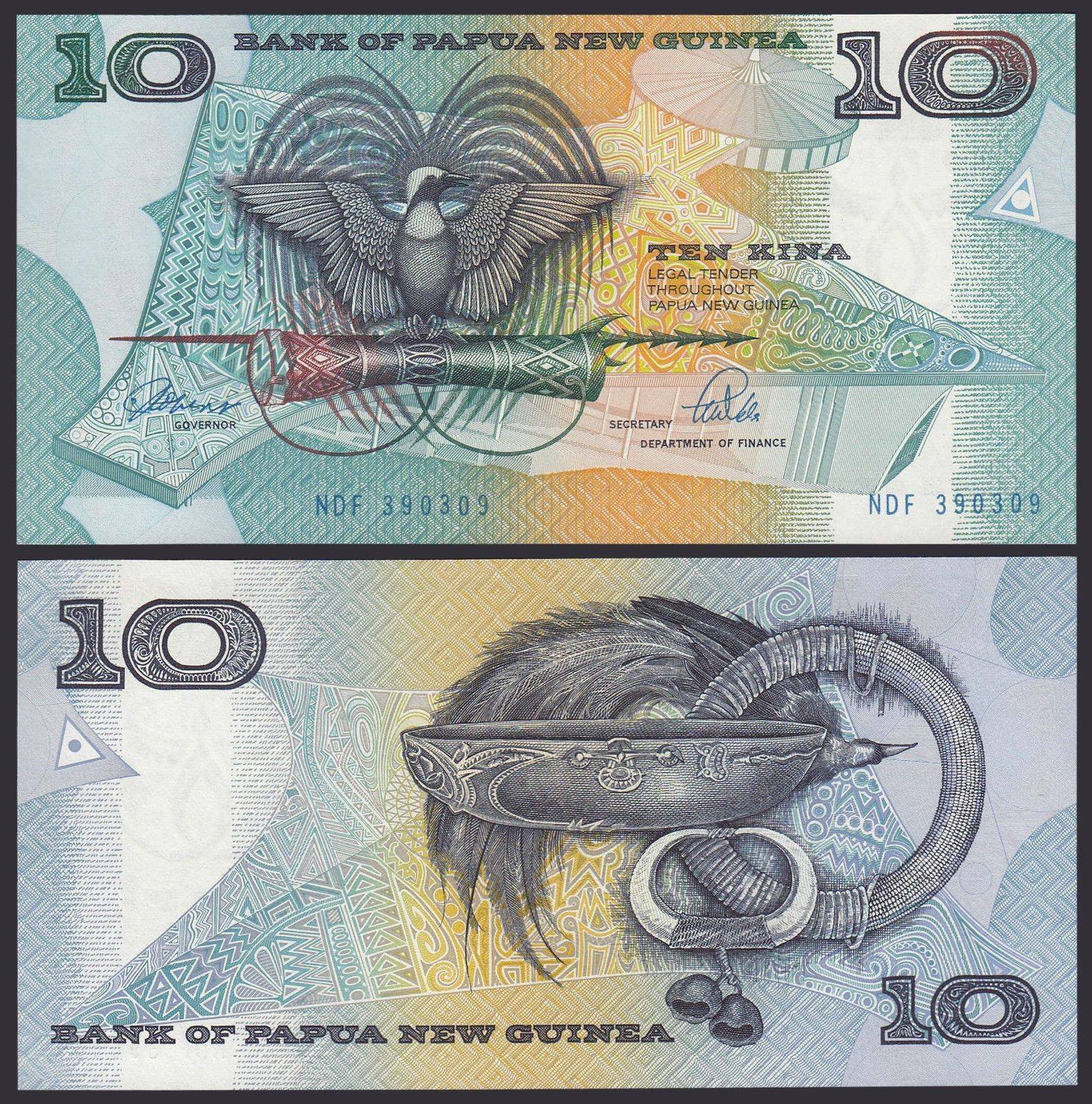 Pick 9 UNC 9b 1988 PAPUA NEW GUINEA,10 Kina ND