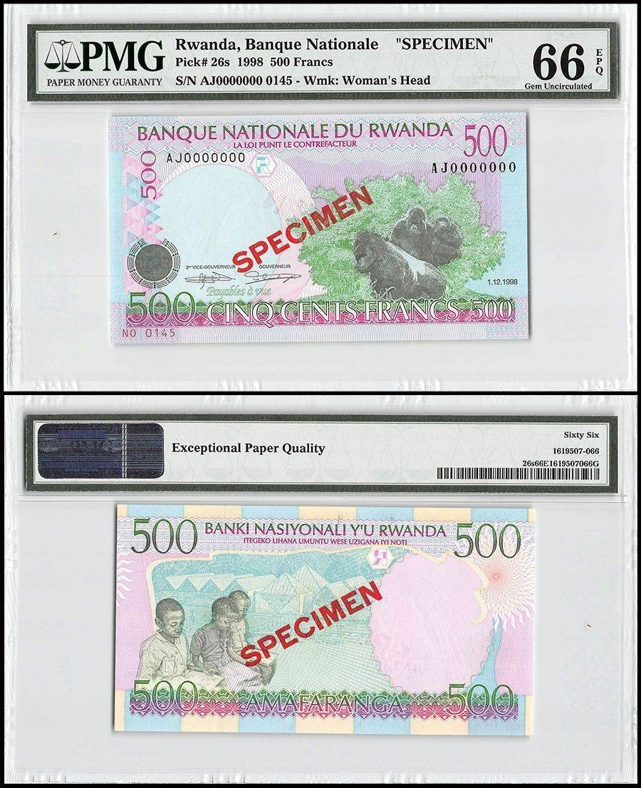 - PRINTER: G/&D P-42a Germany BEAUTIFUL 500 FRANCS 2019 RWANDA UNC BANKNOTE -