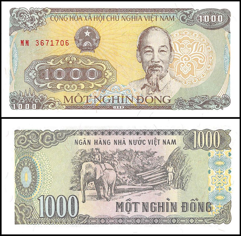 Vietnam Viet Nam 1000 1 000 Dong 1988 P 106a Unc Elephant Currency