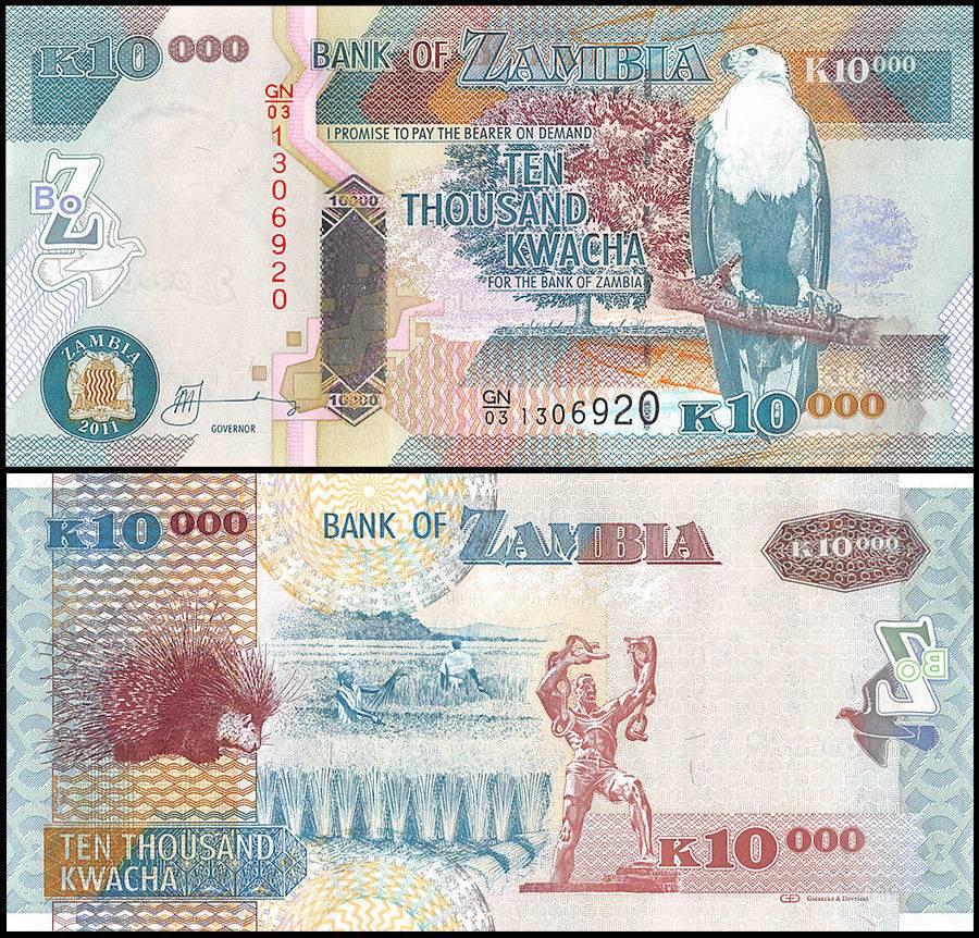 Zambia banknote P43-48 Set 500-1,000-10,000-20,000-50,000 Kwacha 2011-12 UNC