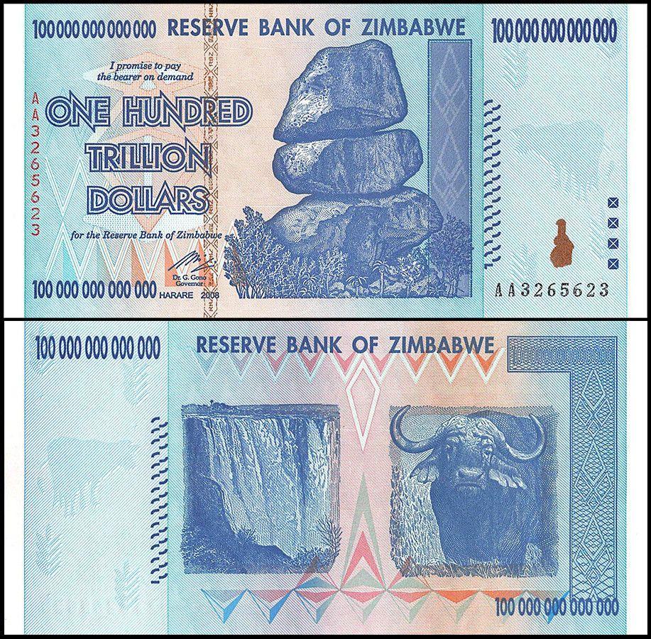 Zimbabwe 100 Trillion Dollars Banknote