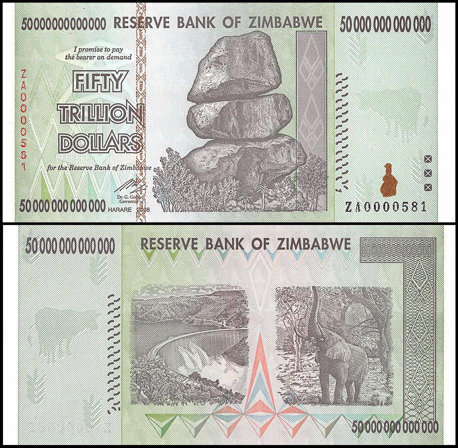 Zimbabwe 50 Trillion Dollars 2008 P