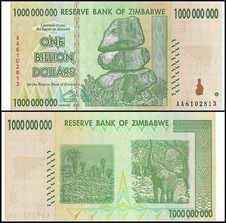 1 to 50 Billion Zimbabwe Dollars Set of 10 Banknotes Currency Lot Paper Money