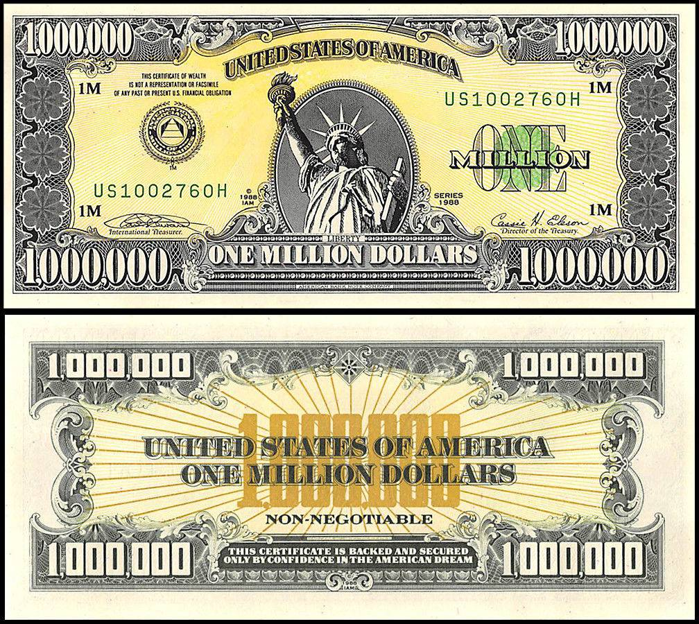 Authentic I A M  One 1 Million United States U S A - USA Dollars Banknote,  1988