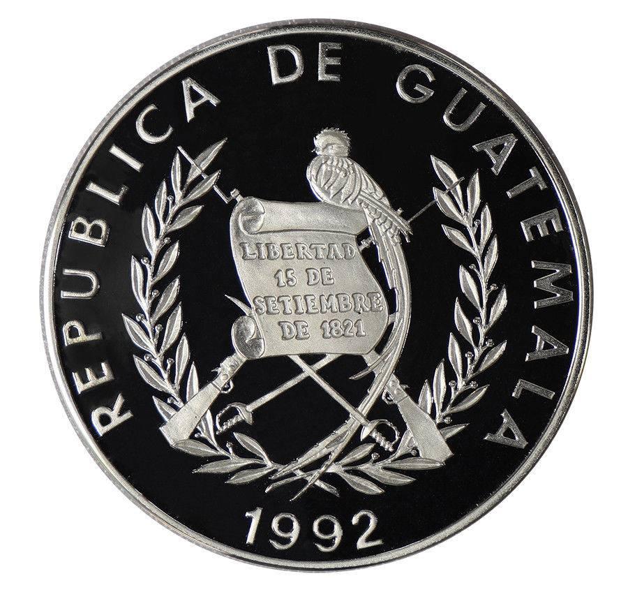Guatemala 1 Quetzal 27 G 925 Silver Coin 1991 Mint 100th Birth