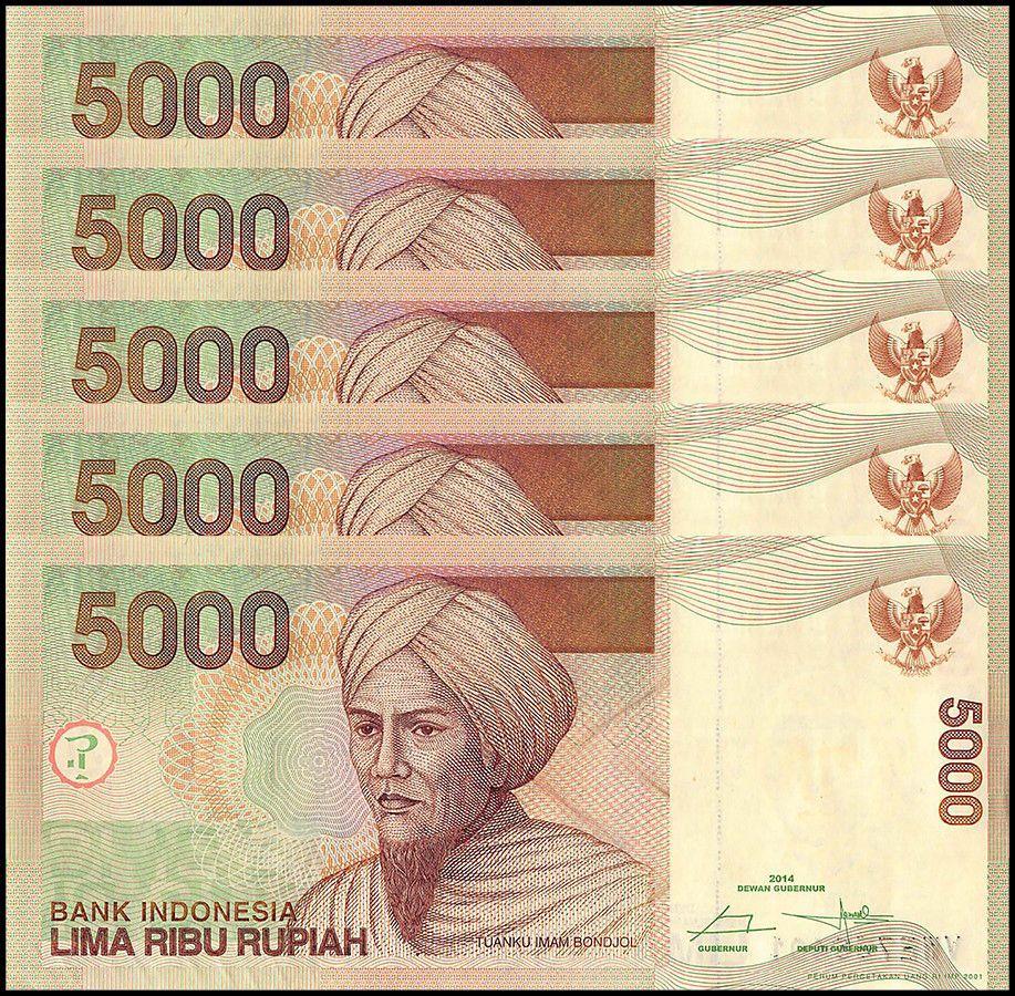 Indonesia 5 000 5000 Rupiah X Pieces Pcs 2017 P 142