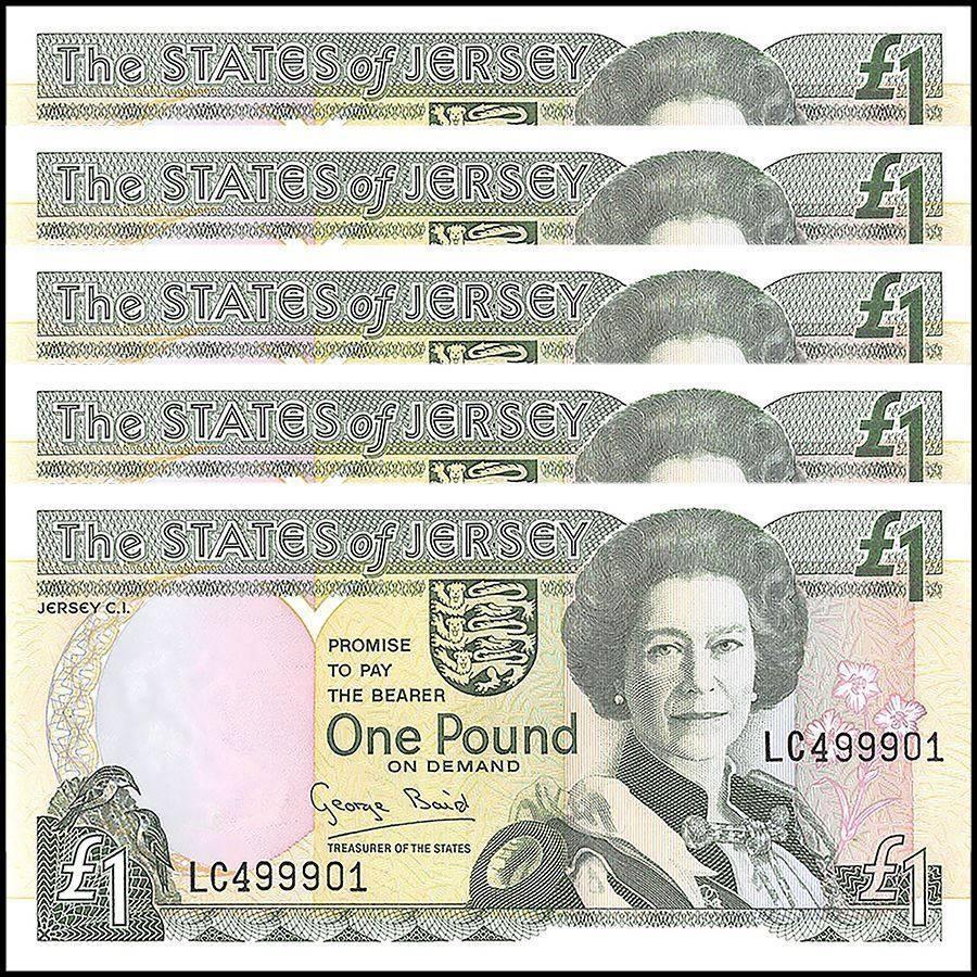 Jersey 1 Pound X 5 Pieces Pcs 1993 P 20 Unc Prefix