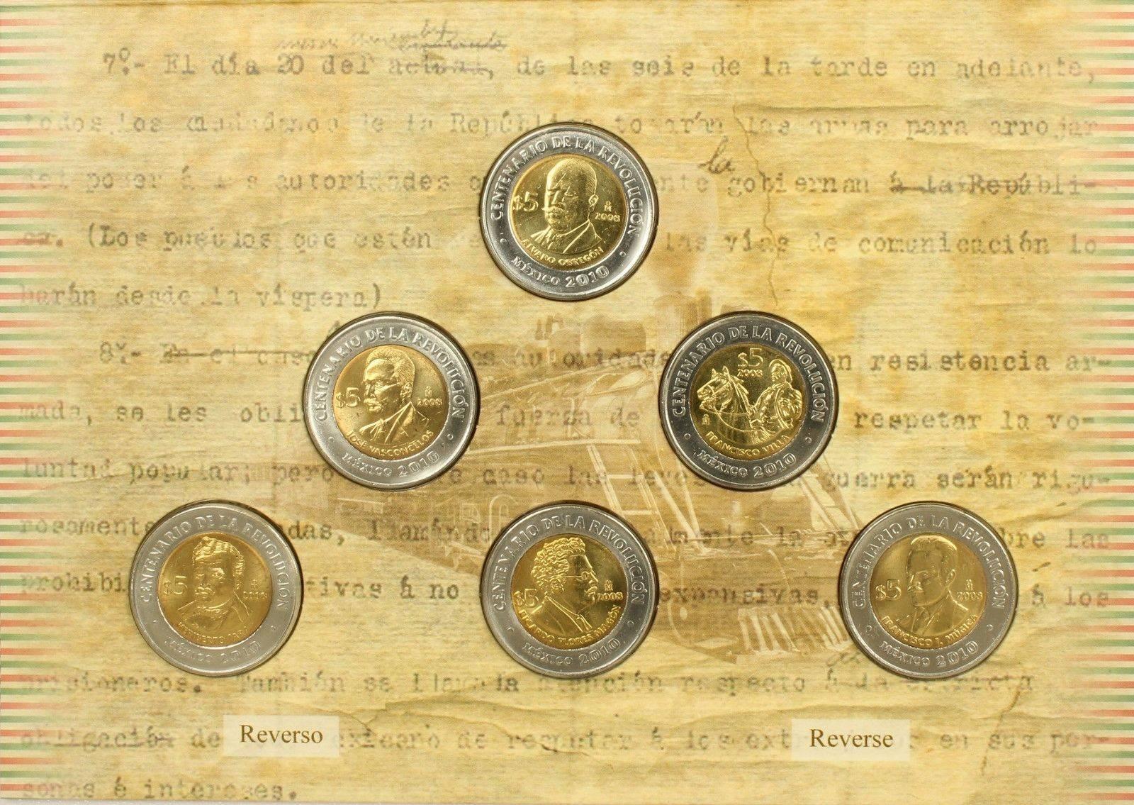 Mexico Independence /& Revolution $5 Pesos Coin Collector Album Folder