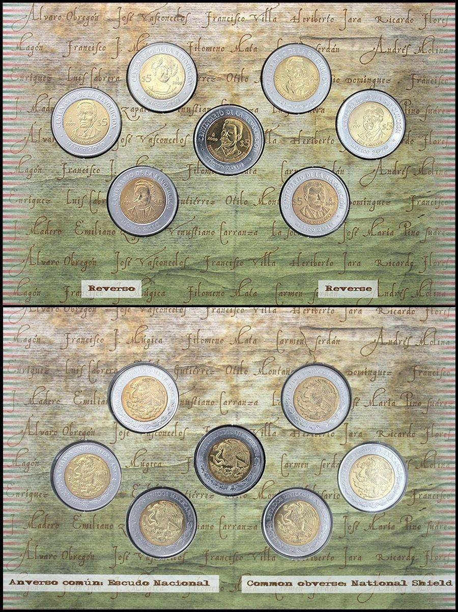 Mint 7pcs Unicorn Conical Gradient Color Makeup Brushes: Mexico $5 Peso X 7 Coins, 2009, KM-907 To 918, Mint