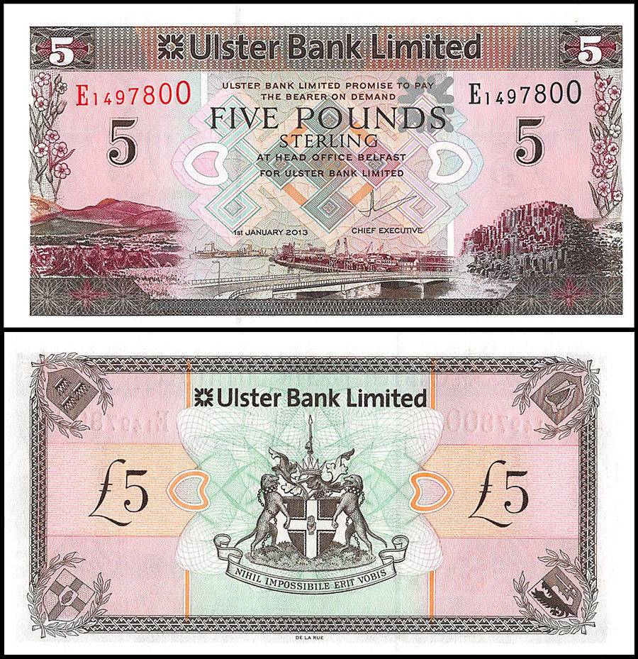 Northern Ireland Pounds Banknote New Unc Pound Sterling North Currency Jpg 900x929