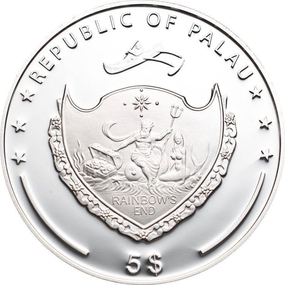 Palau $5, 20g Silver Coin, 2013, Mint, Mountains And Flora