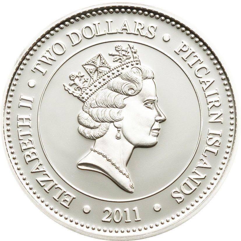Pitcairn Island 2 Dollars 1 Oz Silver Proof Coin Barbeled Dragonfish QEII