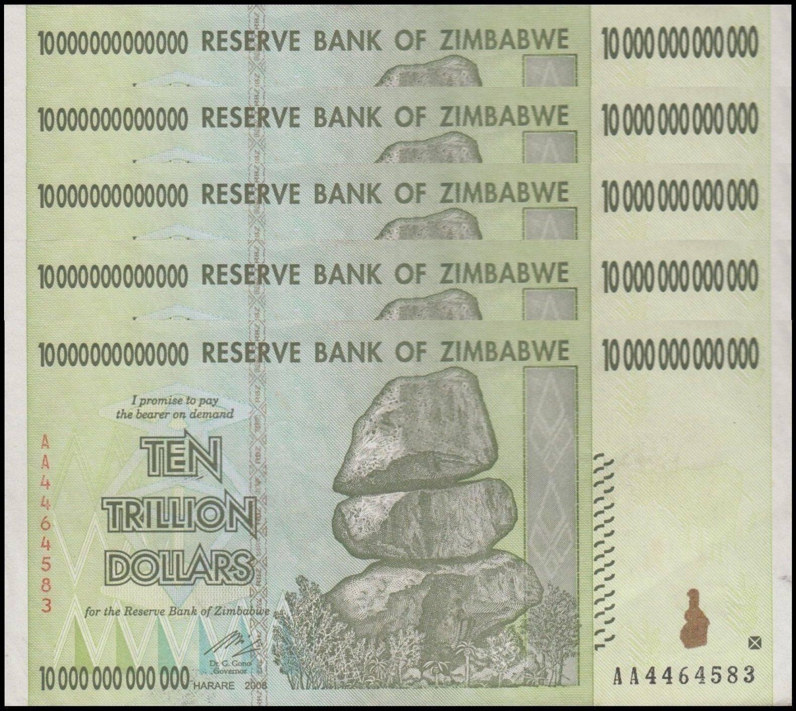 Zimbabwe 10 Trillion X 5 Pieces Pcs Aa 2008 P