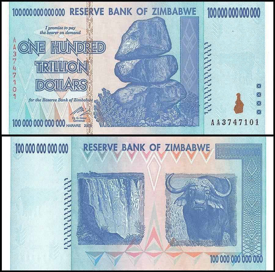 Zimbabwe 100 Trillion Dollars Banknotes Aa 2008 P 91 Unc Series