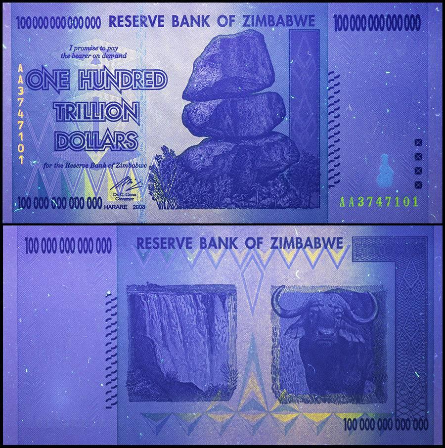 Zimbabwe 100 Trillion Dollars 2008 P 91 Unc
