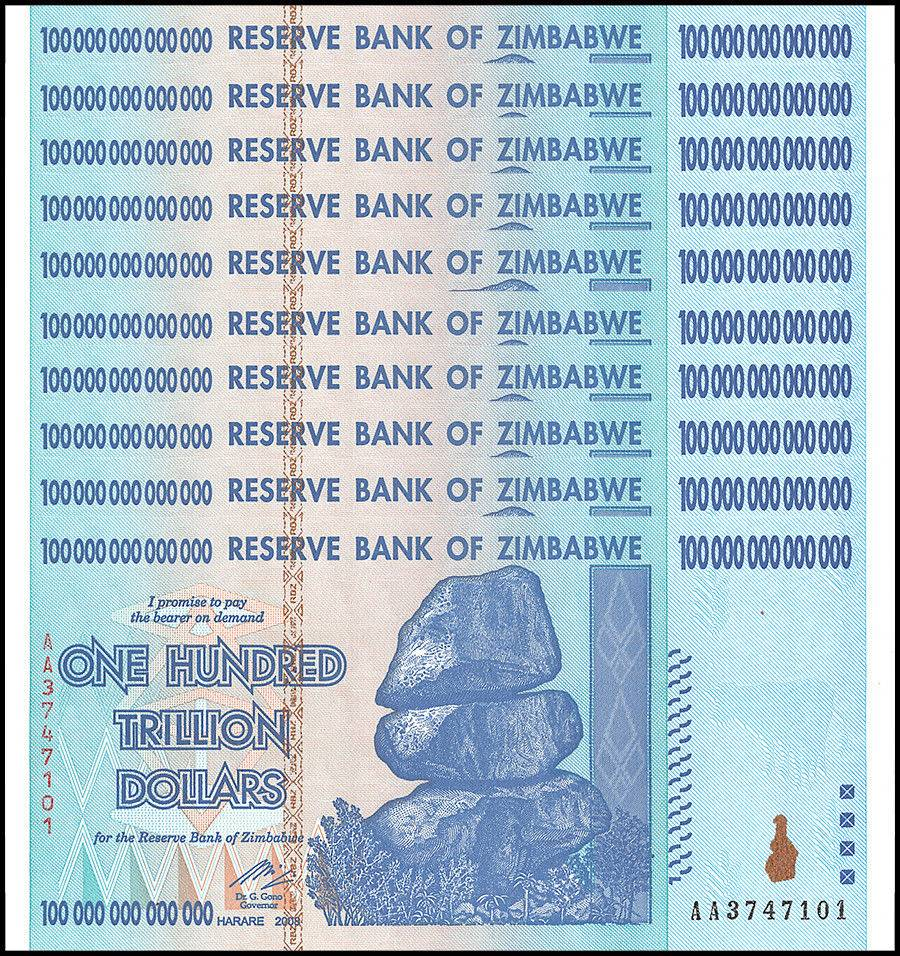 Zimbabwe 100 Trillion Dollars X 10 Pieces Pcs Aa 2008 P 91 Unc