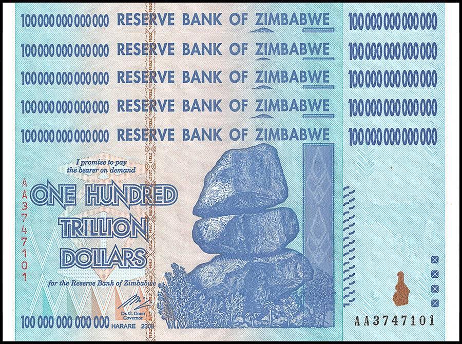 Zimbabwe 100 Trillion Dollars X 5 Pieces Pcs Aa 2008 P 91 Unc 50