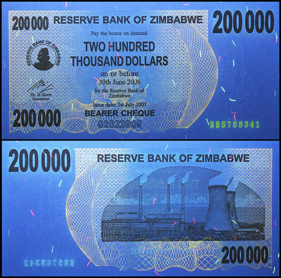 ZIMBABWE 200,000 200000 Dollars Bearer Cheque 2007 P-49 UNC Uncirculated