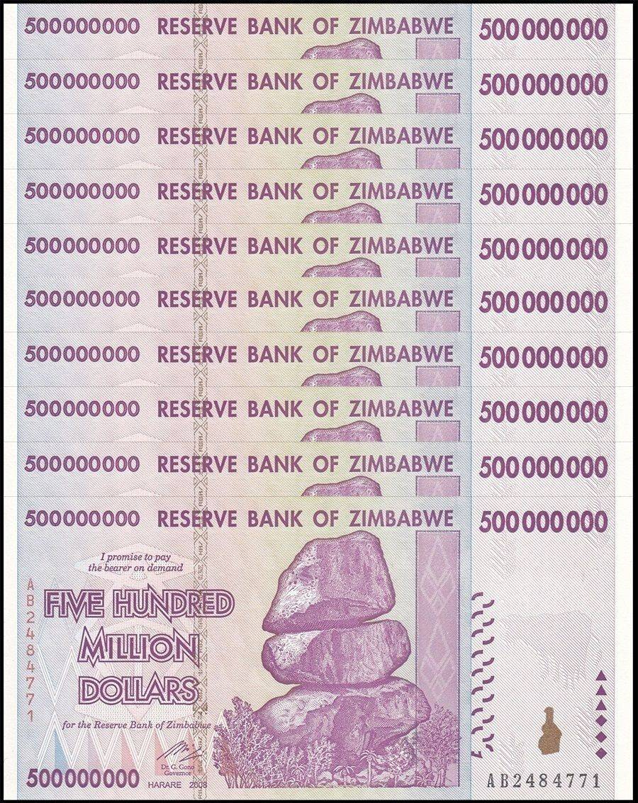 2008 AB Unc Zimbabwe 500 Million Dollars x 5 Pcs 100 Trillion Series