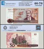 Brazil 50 Cruzados Banknote, 1986, P-210a, UNC, TAP 60 - 70 Authenticated