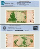 Zimbabwe 5 Dollars Banknote, 2009, P-93, 50 & 100 Trillion Series, UNC, TAP 60-70 Authenticated