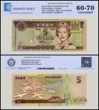 Fiji 5 Dollars Banknote, 2002, P-105b, UNC, TAP 60 - 70 Authenticated