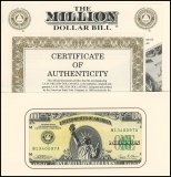 Authentic I.A.M. One 1 Million United States U.S.A - USA Dollars Novelty / Fantasy Banknote, 1988, Suffix A
