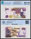 Zambia 5 Kwacha Banknote, 2012, P-50a, UNC, TAP 60 - 70 Authenticated