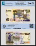 Zambia 100 Kwacha Banknote, 2014, P-54c, UNC, TAP 60 - 70 Authenticated