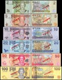 Fiji 2-100 Dollars 6 Pieces Specimen Set, 2007, P-109s-114s, UNC