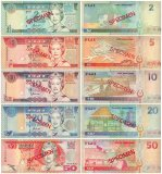 Fiji 2 - 50 Dollars 5 Pieces SPECIMEN Set, 1995-1996, P-96s-100s, UNC