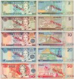 Fiji 2 - 50 Dollars 5 Pieces SPECIMEN Set, 2002, P-104s-108s, UNC