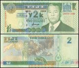 Fiji 2 Dollars Banknote, 2000, P-102a, UNC
