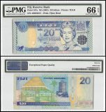 Fiji 20 Dollars, ND 2002, P-107a, Fijian Head, Queen Elizabeth II, PMG 66
