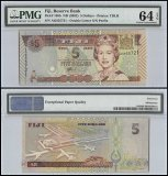 Fiji $5 Dollars, ND 2002, P-105b, PMG 64