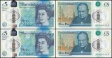 Great Britain 5 Pounds 2 Pieces Set, 2015, P-394, Matching Serial #, UNC