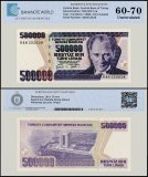 Turkey 500,000 Lira Banknote, 1998, P-212k, Prefix-K, UNC, TAP 60 - 70 Authenticated
