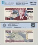 Turkey 1 Million Lira Banknote, 2002, P-213, Prefix-T, UNC, TAP 60 - 70 Authenticated
