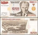 Turkey 5 Million Lira Banknote, 1997, P-210, Prefix - M, UNC