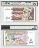 Zaire 5 Million Zaires, 1992, P-46s, Specimen, PMG 64