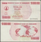 Zimbabwe 10 Million Dollars Bearer Cheque, 2008, P-55, Used