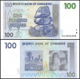 Zimbabwe 100 Dollars Banknote, 2007, P-69, UNC, Replacement